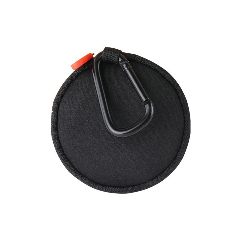 Custom Round Soft Neoprene Earphone Pouch with Carabiner